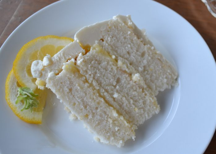 Two layer lemon cake filled with a lemon mascarpone cheese filling